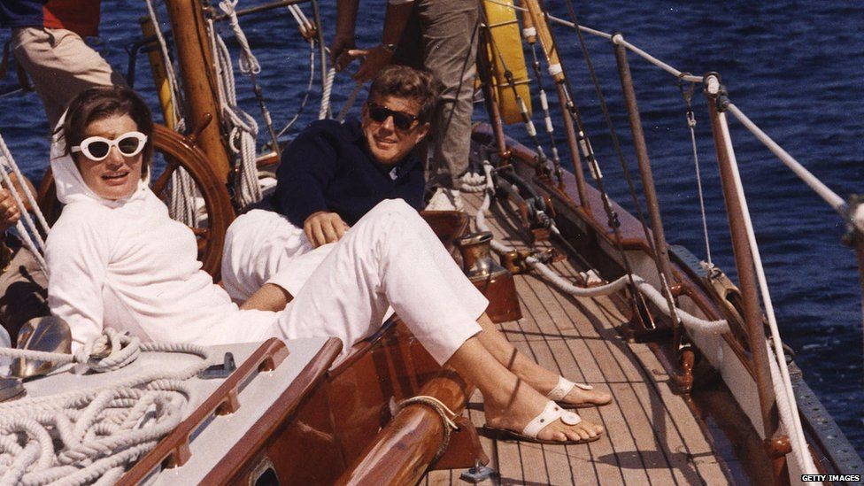 Jackie Kennedy and her husband JFK on a yacht