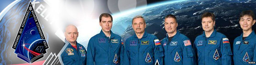 The emblem and crew of Expedition 45, currently manning the International Space Centre.