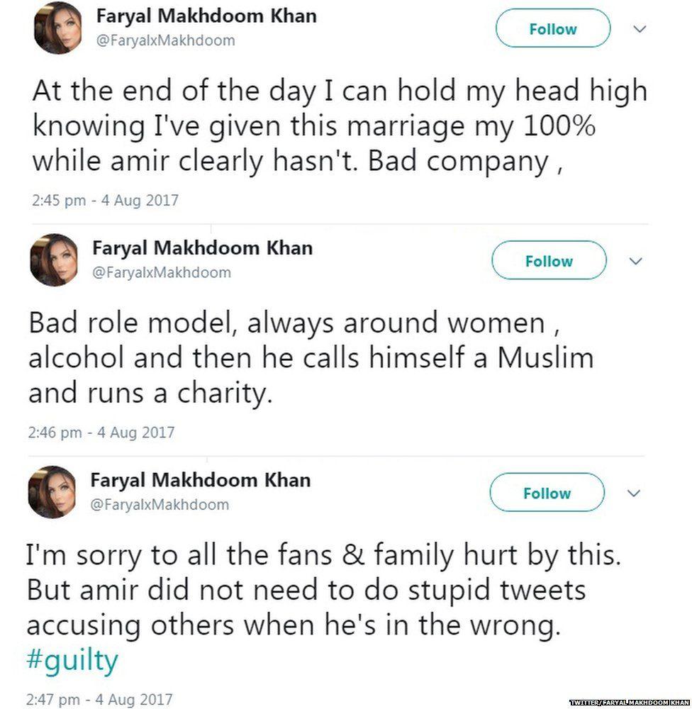 A series of Faryal's tweets