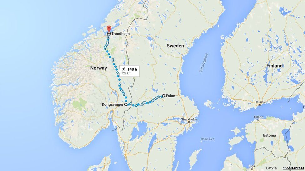 Falun to Trondheim route