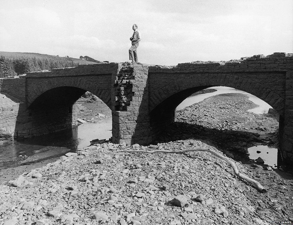 This bridge in the Llwyn-On Reservoir had been submerged for 50 years but reappeared due to low water levels