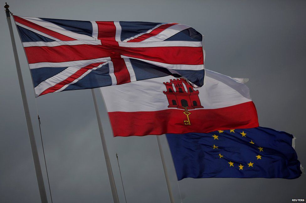 Flags of the UK, Gibraltar and the EU