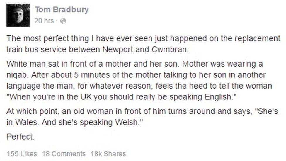 Tom Bradbury's Facebook post
