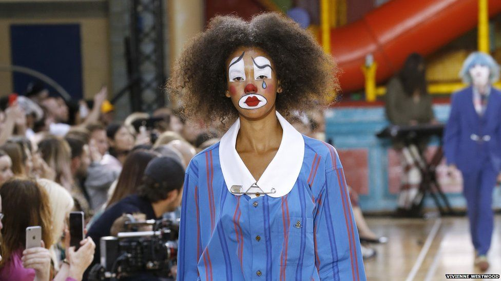 A model in circus-inspired makeup