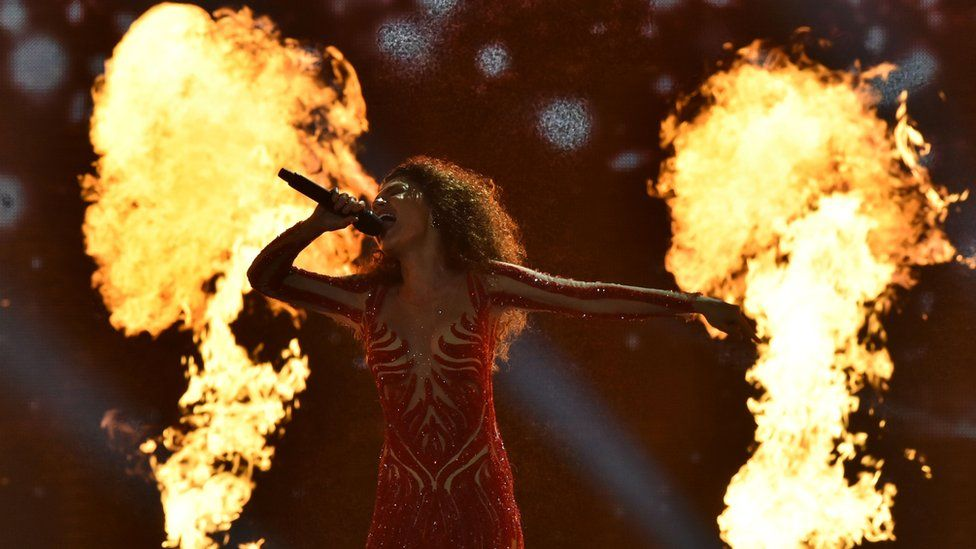 Georgia Tamara Gachechiladze performs during the first semi-final rehearsal of Eurovision Song Contest in Kiev on May 8, 2017