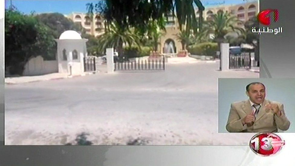 Grab from Tunisian TV of hotel where attack took place