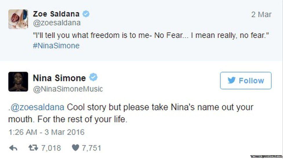 Tweet sent by Zoe Saldana