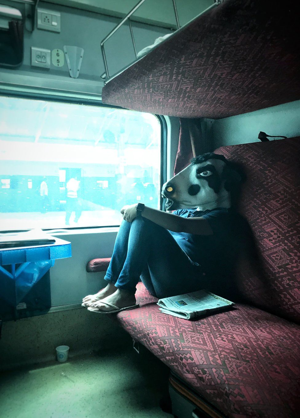 A woman with a cow mask in a train