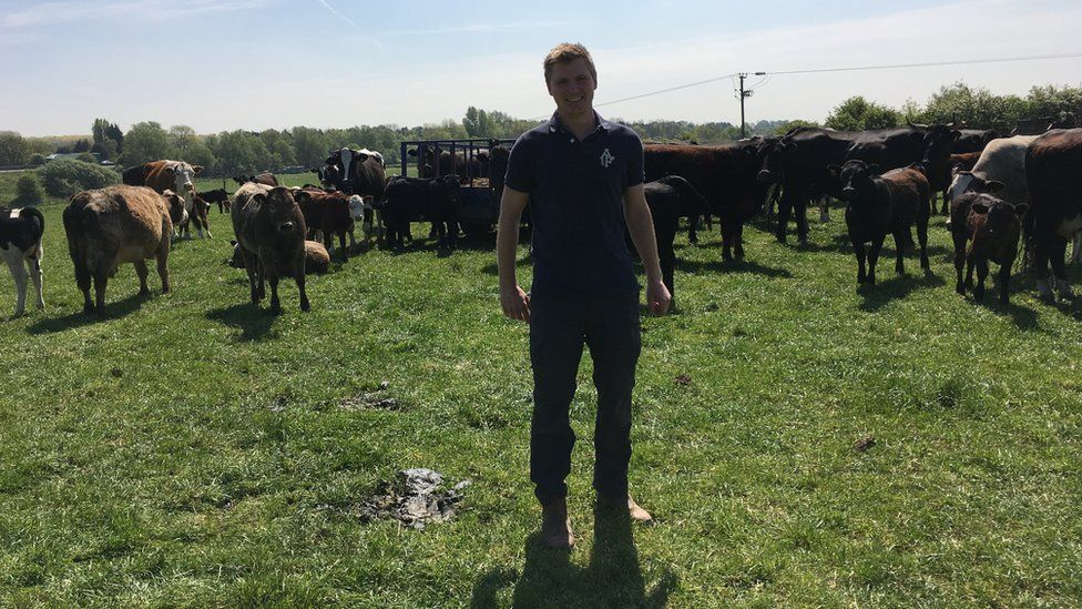 Richard on Lower Drayton Farm in a field of cows