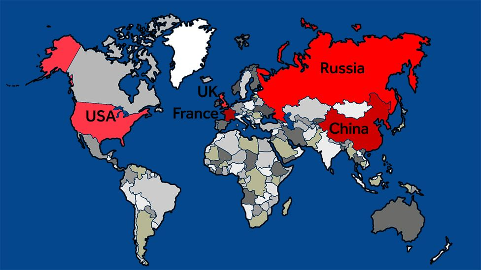 Countries which could push the nuclear red button bbc newsbeat a map of the un security council members who have nuclear capability gumiabroncs Image collections