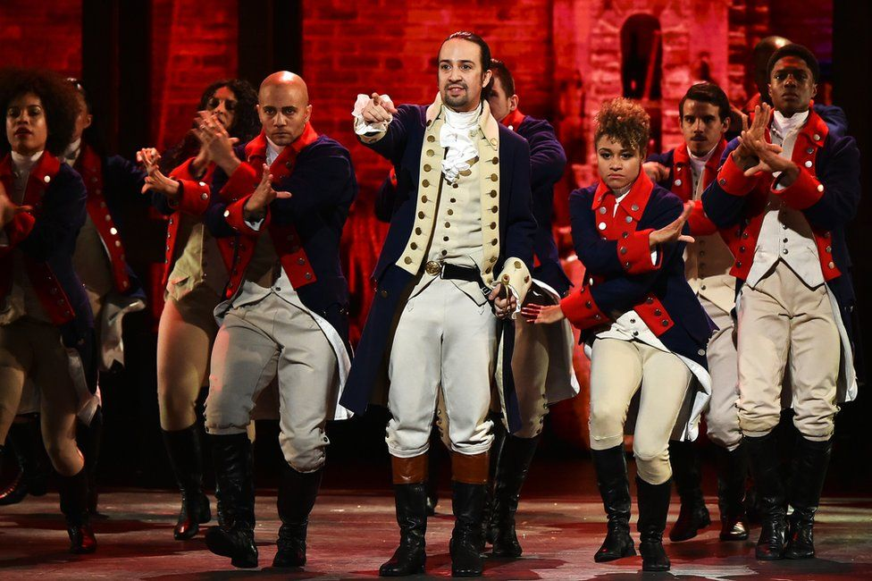 Actor Lin-Manuel Miranda and the cast of 'Hamilton' perform onstage during the 70th Annual Tony Awards