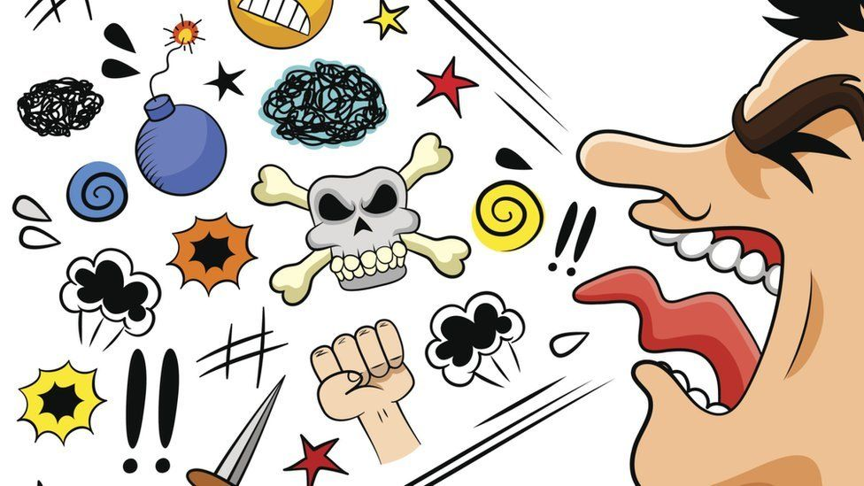 A cartoon image of a man with lots of symbols representing swearwords coming out his mouth