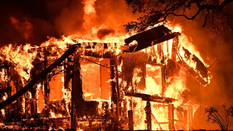 A home burns in Santa Rose, northern California