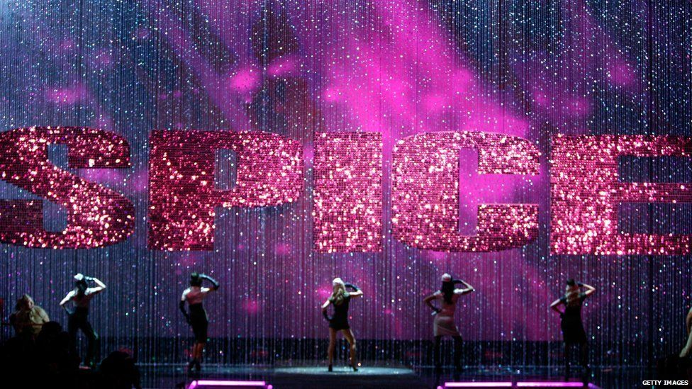Spice Girls performing on stage