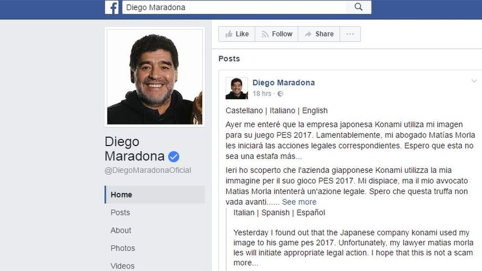 Maradona's Facebook post