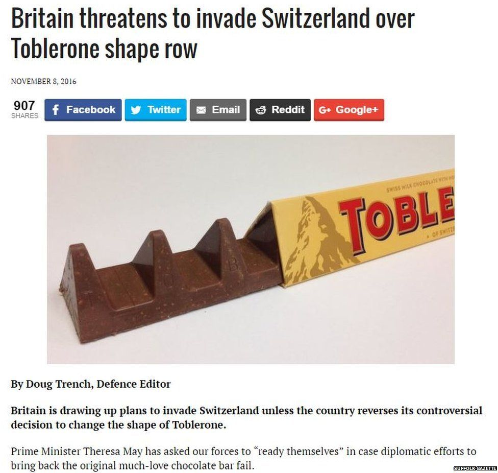 A spoof story about toblerone