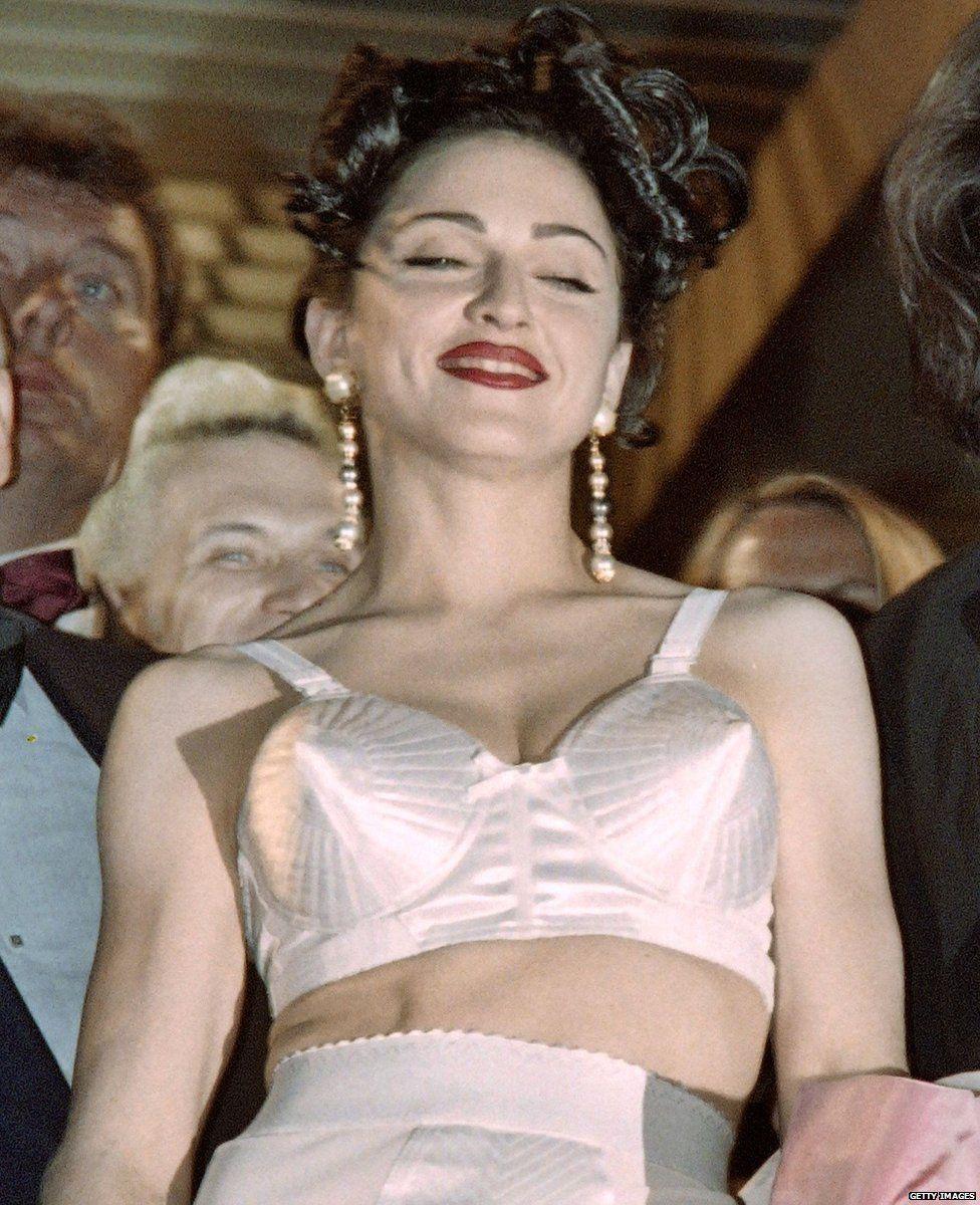 Madonna wearing underwear designed by Jean-Paul Gaultier