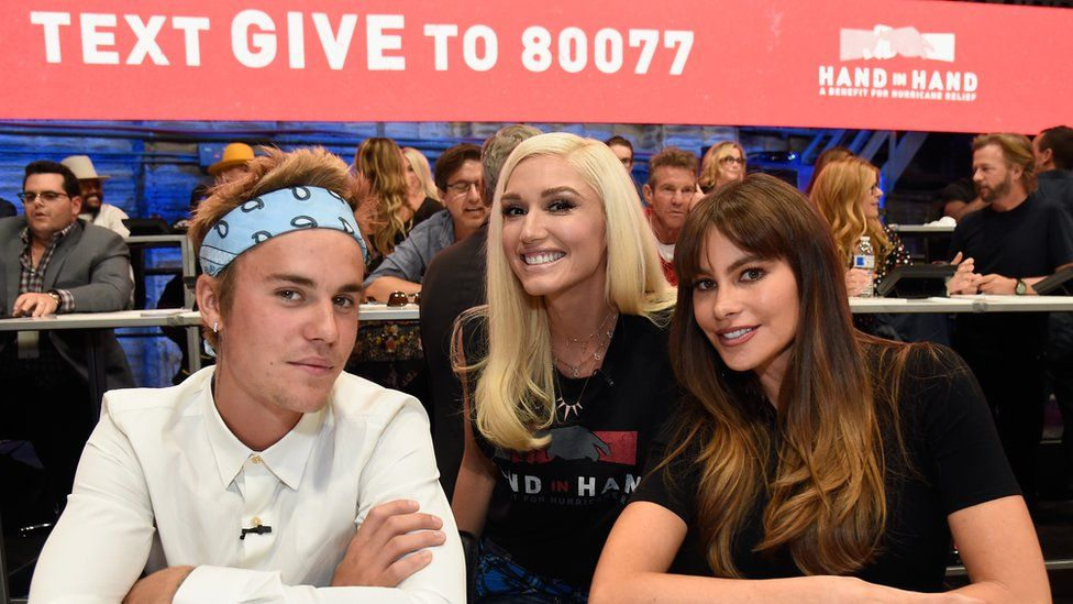 Justin Bieber, Gwen Stefani and Sofia Vergara at a telethon in Los Angeles