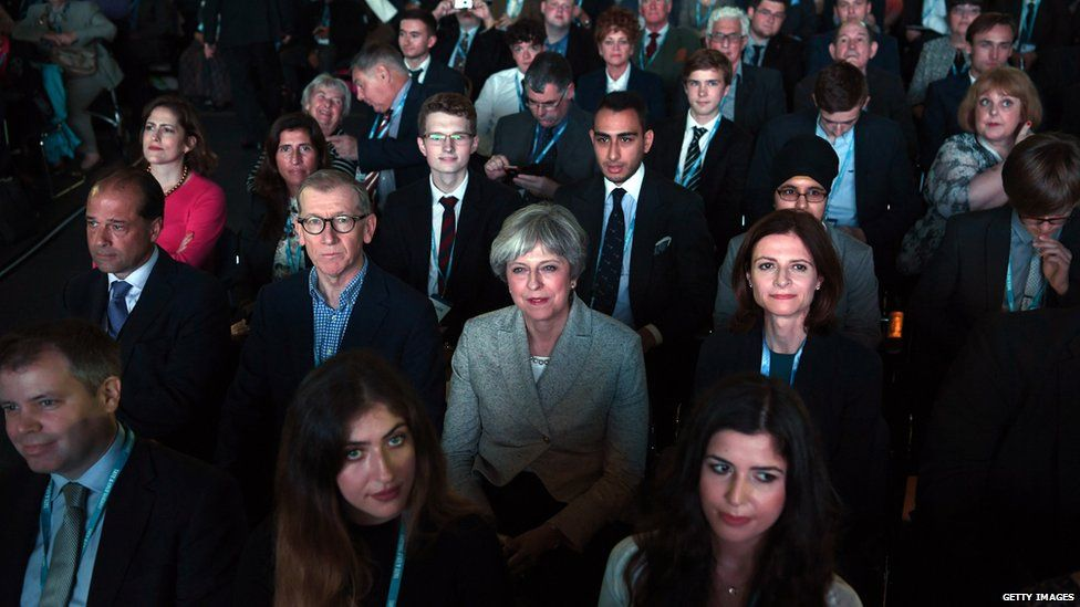 Theresa May in the crowd at the Conservative conference