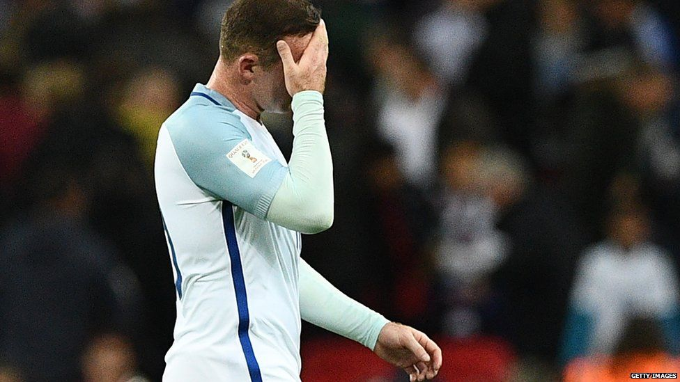 Wayne Rooney with his hand over his face as he left the pitch during England's game against Malta