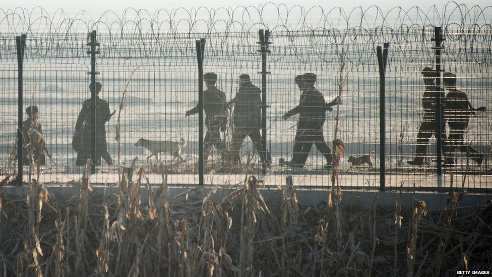 North Korean soldiers at gate