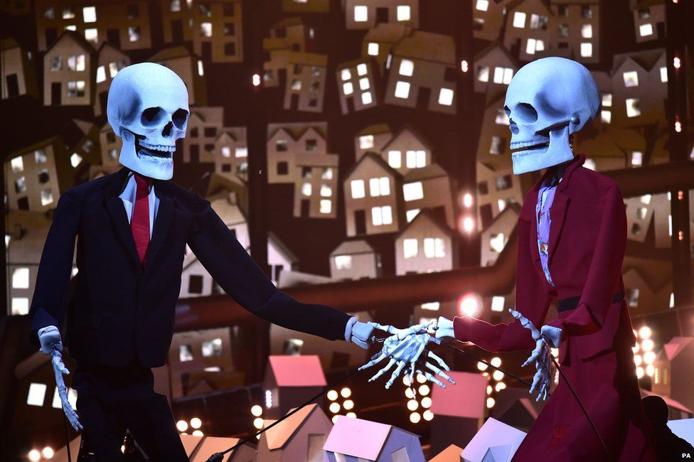 Skeletons during Katy Perry's Brits set