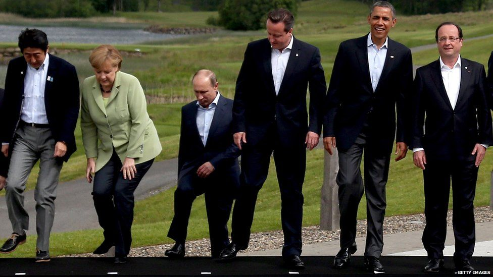 Shinzo Abe, Angela Merkel, Vladimir Putin, David Cameron, Barack Obama and Francois Hollande at a G8 summit in 2013
