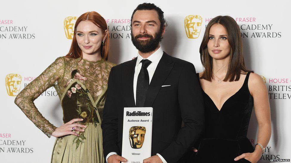 Eleanor Tomlinson, Aidan Turner and Heida Reed- all stars of Poldark