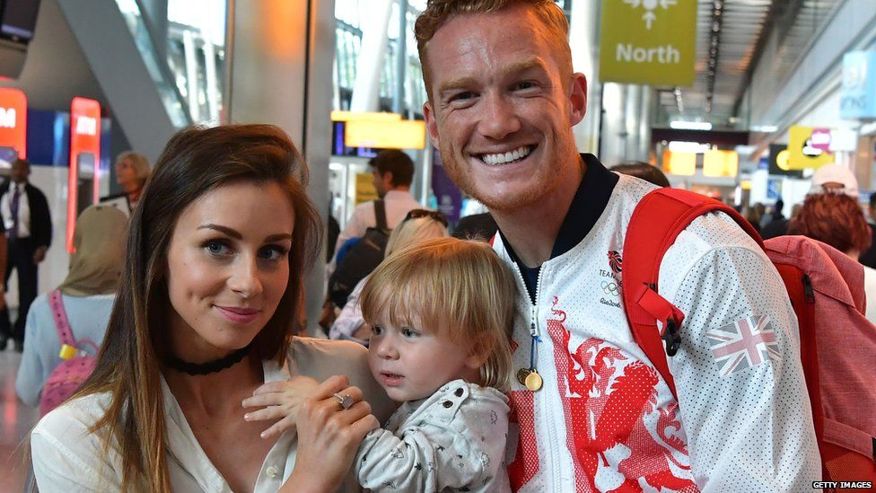 Greg Rutherford with his girlfriend Suzie Verrill and son, Milo