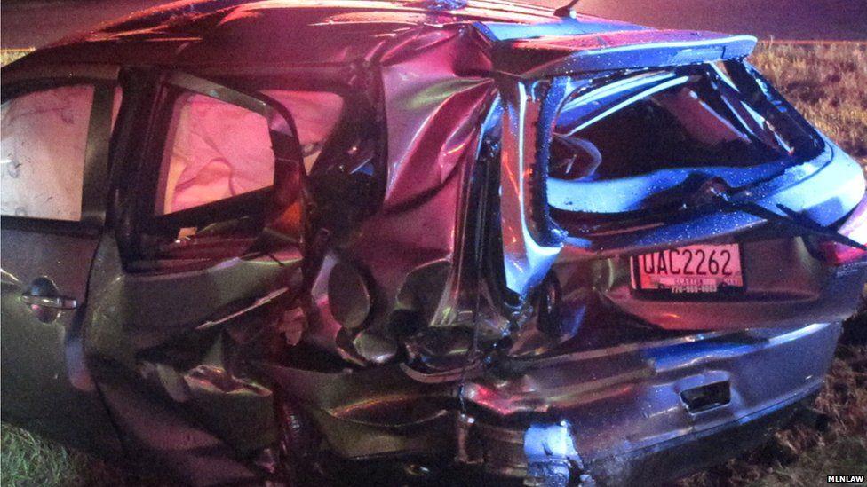 Car destroyed by crash
