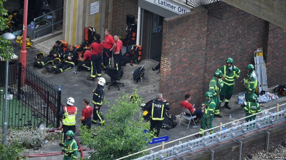 Emergency services at Grenfell Tower