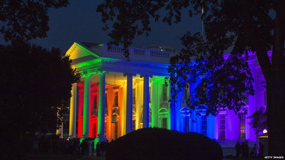 White House with rainbow colours on it