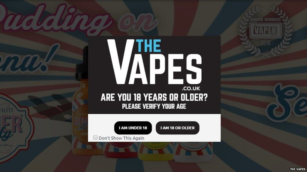 A screen grab of The Vapes website