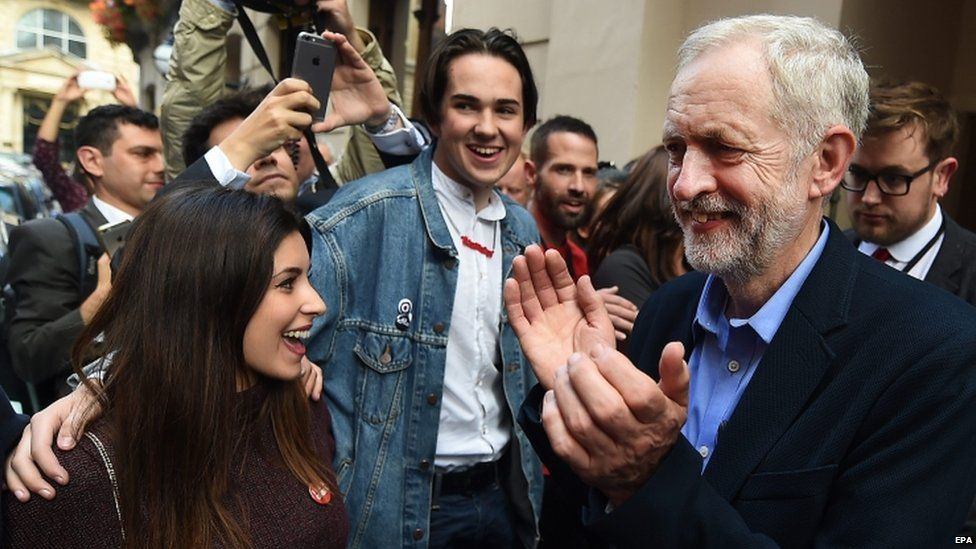 Jeremy Corbyn and supporters celebrating his leadership win