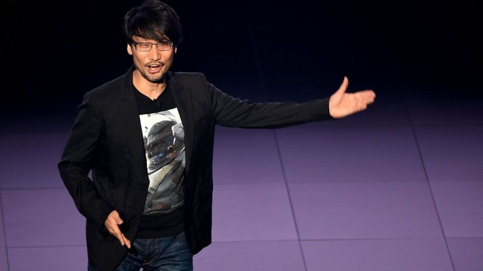 Kojima speaking at the E3 gaming conference