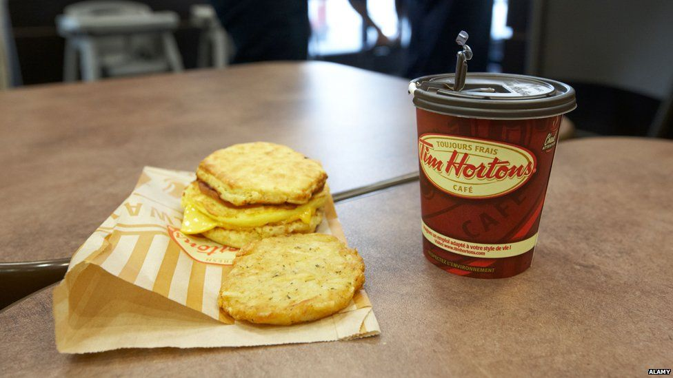 Tim Hortons breakfast roll and coffee