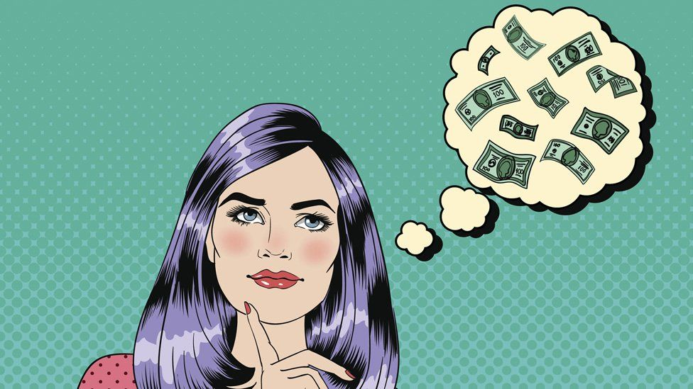 Woman with money think bubble