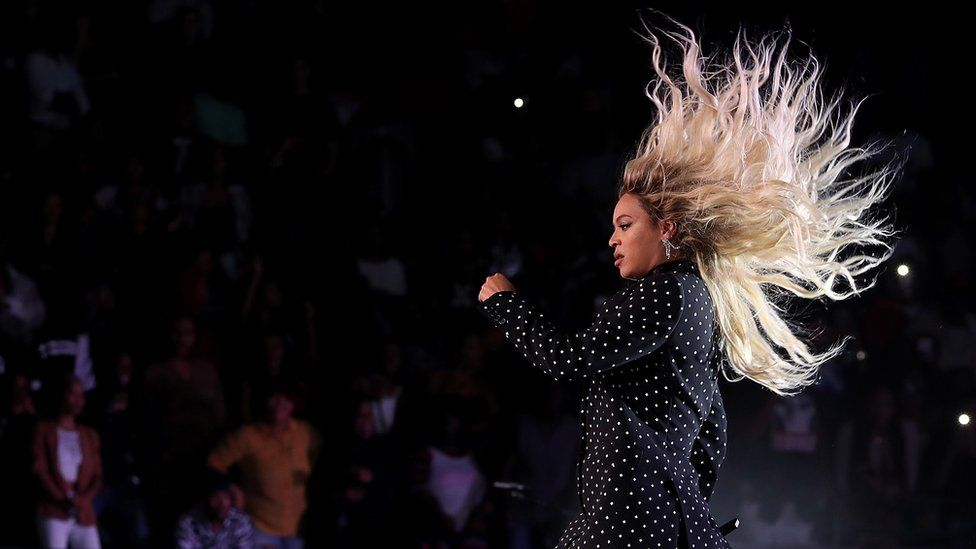 This is a photo of Beyonce performing during Hilary Clinton's campaign rally.