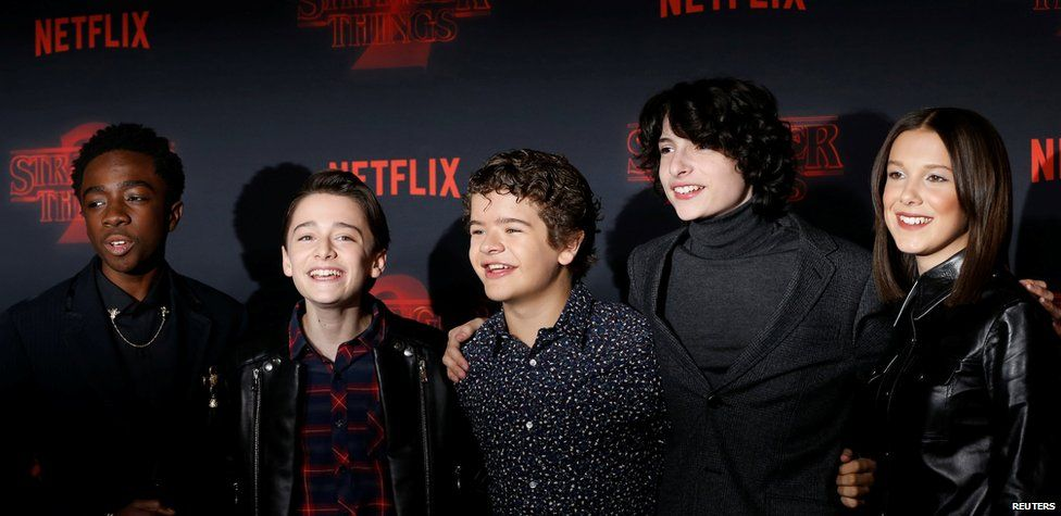 Caleb McLaughlin, Noah Schnapp, Gaten Matarazzo, Finn Wolfhard and Millie Bobby Brown from Stranger Things