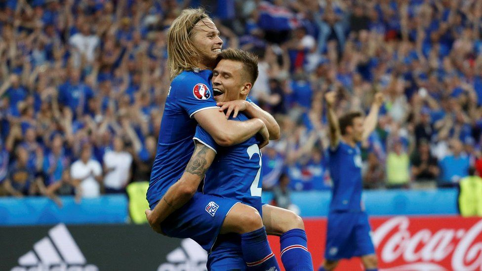 Iceland players celebrate a goal
