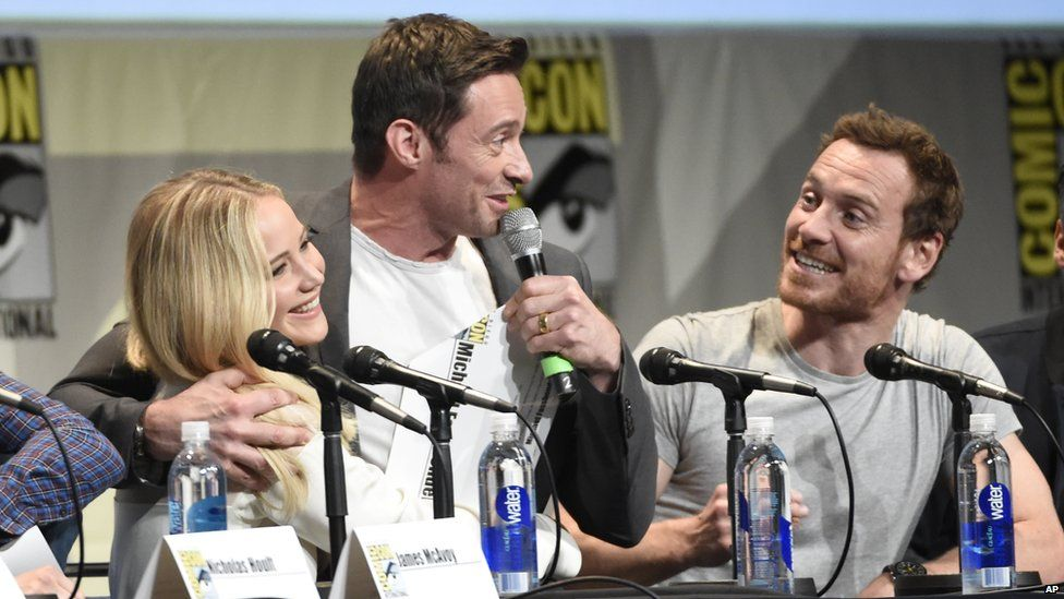 Jennifer Lawrence, Hugh Jackman, and Michael Fassbender