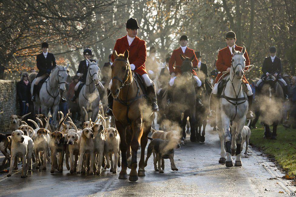 The Avon Vale hunt makes its way to the village of Laycock, Wiltshire, on the traditional Boxing Day meet in 2013