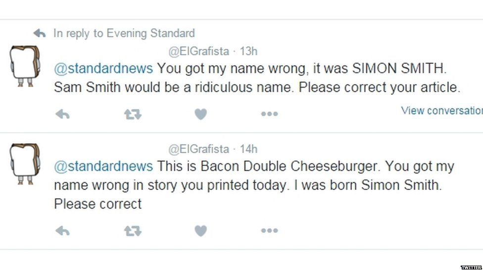 """""""Tweets from a man called Bacon Double Cheeseburger correcting a newspaper about his birth name."""