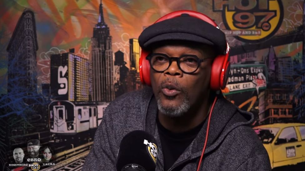 Samuel L. Jackson being interviewed for Hot 97 FM