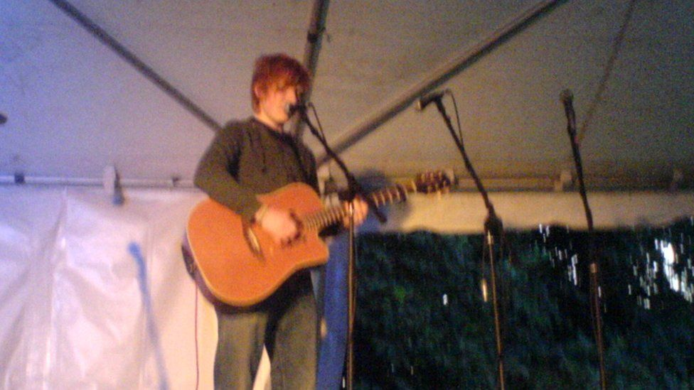 An ever-so-slightly blurry photo Gary took of one of Ed Sheeran's early gigs
