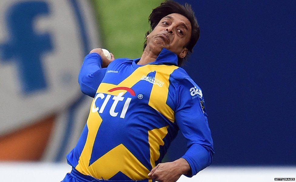 Shoaib Akhtar bowls a ball in a cricket match