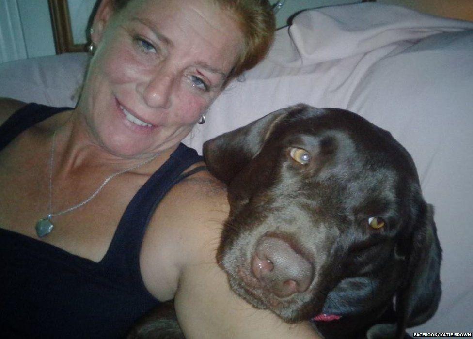 Katharine Lemansky and her dog Brown