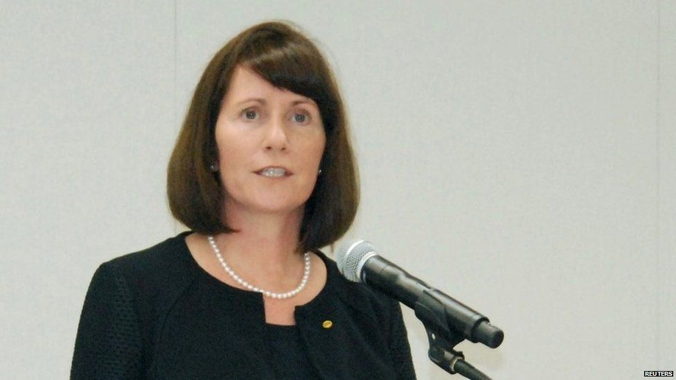 """Toyota Motor Corp""""s Managing Officer and Chief Communications Officer Julie Hamp speaks to media during a news conference in Nagoya, central Japan, in this photo taken by Kyodo June 17, 2015"""