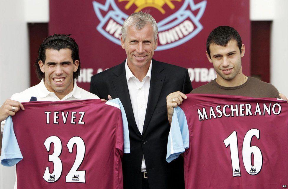 Carlos Tevez, Alan Pardew and Javier Mascherano