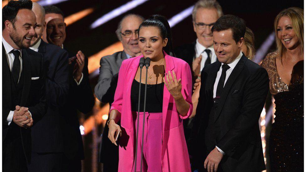 Scarlett Moffatt accepting BAFTA with Ant and Dec